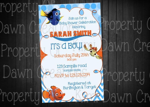 finding nemo baby shower invitation digital by kimidawncreations