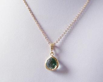 sage bridesmaid necklace gold, sage green necklace ,sage wedding, sage green wedding, olive green necklace,erinite necklace