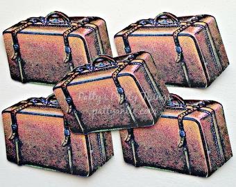 Luggage Die Cuts, Luggage Confetti, Brown Suitcases Die Cuts