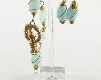 Bracelet & Earring Set - Chaos Wrapped Oval Amazonite (S008)