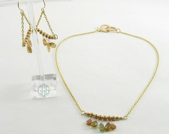 Necklace And Earring Set - Gold Wire & Tourmaline Trio (S010)
