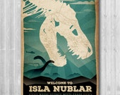 Jurassic Park inspired by Isla Nublar - Jurassic World Retro, Travel Map, Paper poster, Movie Art Print, Geek Wall Decor, Clever Girl, T-Rex