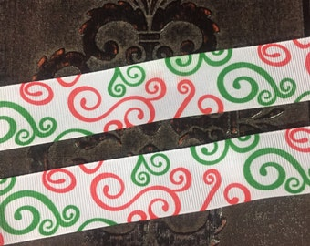 """7/8"""" Christmas Ribbon, Red and Green Swirl"""