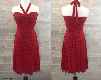 Red with flocked black polka dots halter (or strapless) dress - small