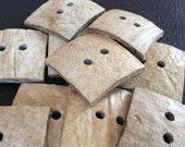 12 square coconut wood buttons for crafts and accessories