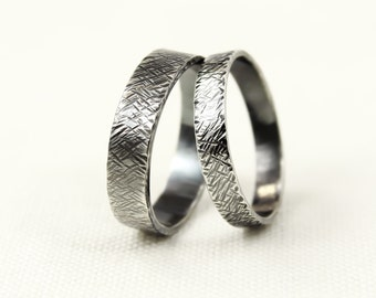 Wedding Ring Set, Oxidised Sterling Silver, His and Hers, Textured, Hammered, Wedding Band Set, Wide Band, Oxidised silver rings