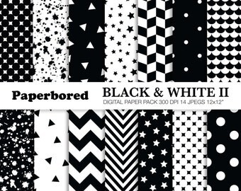 BLACK AND WHITE 2 Digital Paper Pack, Black & White Papers in Assorted Patterns / Instant Download