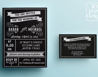 Retro wedding invitation template, printable wedding invitation design, black and white vintage wedding invite design typographic invitation