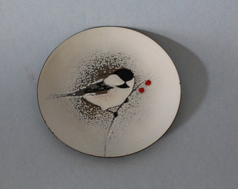 Vintage Brumm Enamel Copper Chickadee with Berries in the Snow Dish