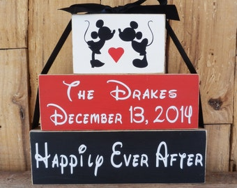 Happily Ever After Wedding Blocks, Mickey and Mini Mouse, Disney, Personalized Wedding Gift, Bride and Groom, Wedding Name and Date