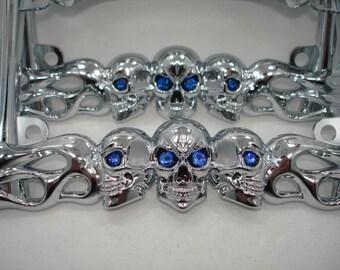 Chrome Metal 3 Three Skulls Flames Bones Motorcycle Biker License Plate Frame w 20 colors Swarovski Crystal Rhinestone Eyes Harley Davidson