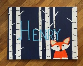 Peeking fox - woodland / fox nursery birch tree art name sign room decor on canvas