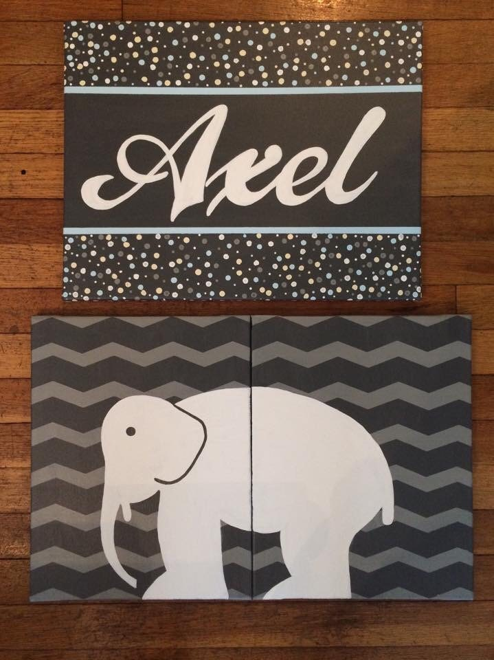 Custom elephant zoology canvas name sign by SimplicityPaints