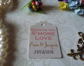 shimmer pearl tags Smore love tag - Smore tags - Wedding favor tag - Sending you smore love tags - set of 25 to 300 pieces Mini tag