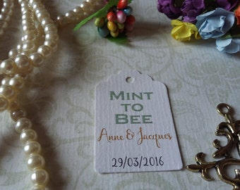 Mint to bee tag - Wedding thank you tag - Personalized wedding tag - Wedding gift tag -Set of 25 to 300 pieces Mini tag
