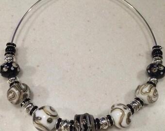 Handmade lampwork bead choker