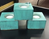 Rustic Blue/Teal Distressed Wood Tealight Candle Holders/ Candle holder/ Wedding Beach Tealight candle/ rustic candle