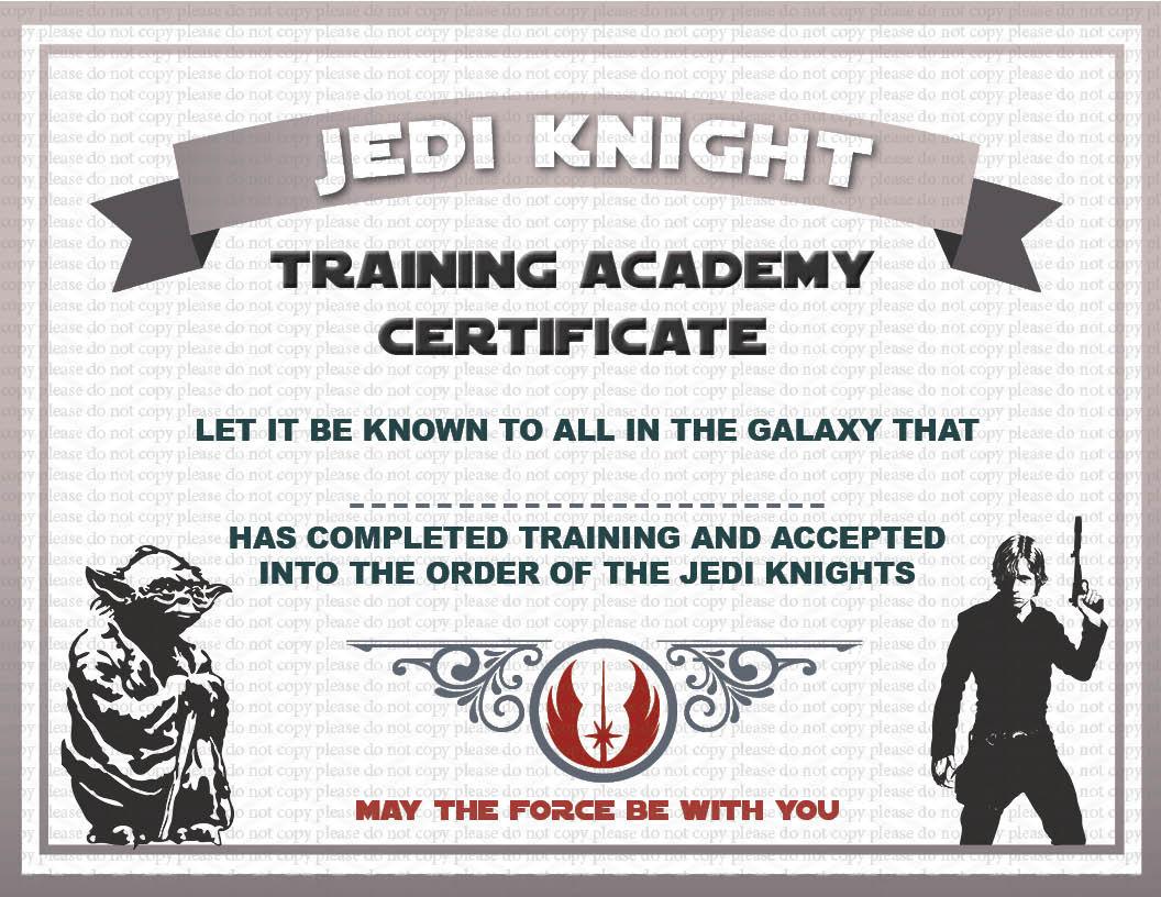 Instant dl jedi knight certificate star wars birthday party for Jedi knight certificate