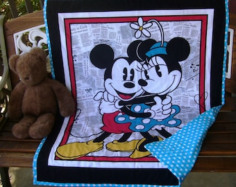 """New *Disneys Mickey and Minnie Mouse Love Story 36""""Wx44""""L aqua white dots backing quilt blanket baby crib bedding toddler napping blanket"""