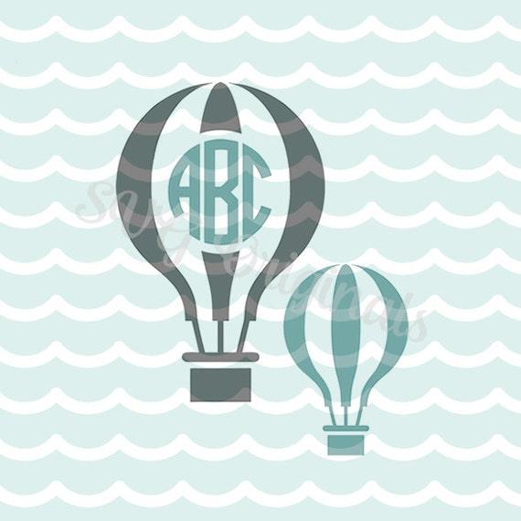 hot air balloon monogram svg file  hot air balloon monogram