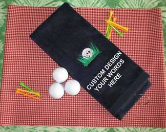 Custom Embroidered Golf Towel - Hiding Golf Ball - Personalized - Embroidered - Golf Gift