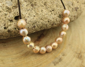 T-L076 loose pearls, 2.5mm large hole freshwater pearls, 10-11mm big potato pearl beads,loose freshwater pearl, 10 pieces Rose Gold pearls