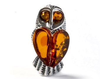 Cognac Amber and Silver Barn Owl Brooch