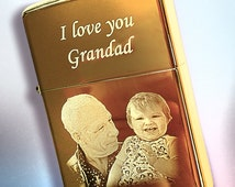 Genuine Brass Zippo lighter Photo & text engraved