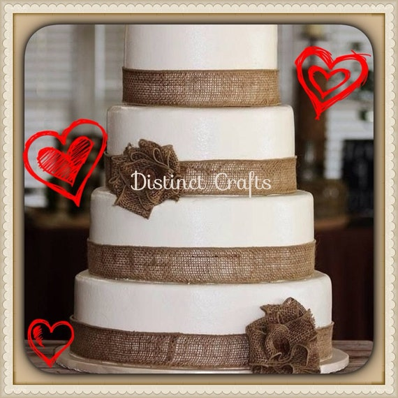 Items Similar To Burlap Four Tier Wedding Display Cake