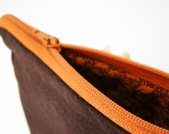 Brown Linen Coin Purse with Cotton Floral Inside, Small Orange Handmade Pouch with Zipper, Small Bag, Autumn Makeup Bag