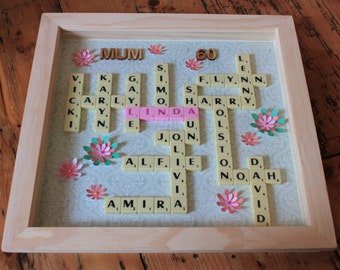 "Birthday Scrabble picture - 14"" large framed wall art - 18th 21st 25th 30th 40th 50th 60th family tree - Personalised Bespoke present gift"