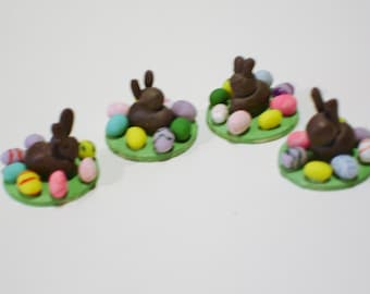 Mini Dollhouse Chocolate Bunny and Easter Eggs