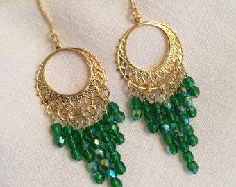 Emerald green Czech glass earrings I