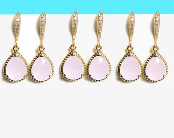 Set of 1-10 Pairs, Blush, Ice, Pink, Glass, Stone, Cubic, Hooks, Gold, Silver, Earrings, Sets, Wedding, Bridesmaid, Baby shower, Gift