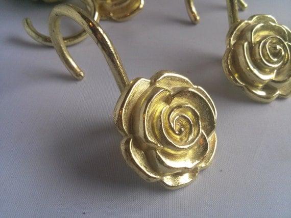 Vintage Set Of 11 Gold Colored Rose Shower Curtain Hooks