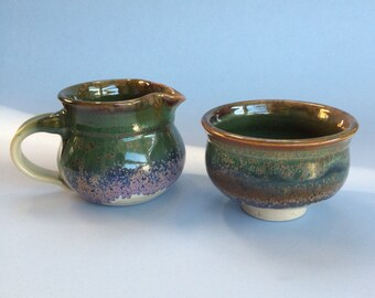 Studio Pottery Cream Pitcher and Sugar Bowl by Pamela Rodgers