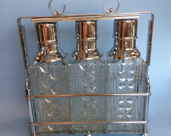 Vintage VSS Crystal Chrome Pump Decanter Dispenser Rack Stand Mid Century Modern, Mad Men Era