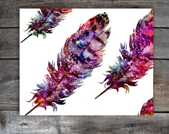 Colorful Feather Prints Printable Instant Download Downloadable Files Feather Wall Prints  Feather Wall Art Modern Wall Art DIY Decor 11x14