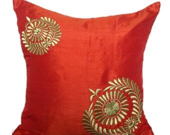 Orange Decorative Pillow Orange Gold Pillow Gold Decorative Pillows Orange Gold Accent Pillows Orange Couch Throw 16x16 Orange Gold Pillow