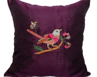Purple Love Bird Pillow Bird On Branch Embroidery Bird Throw Pillow Accent Pillow 14x14 16x16 18x18 20x20 22x22 24X24 26X26