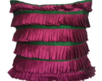 Wine Ruffles Pillow Wine Ruffles Euro Sham Wine Ruffles King Sham Ruffles Accent Pillow Ruffles Throw Pillow 16x16 18x18 20x20 24x24 26x26