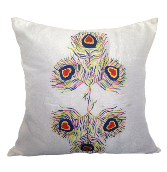 White Decorative Pillow Cover Peacock by TheWhitePetalsDecor