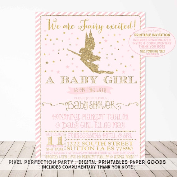 Fairy Baby Shower Invitation Pink and Gold Sparkle Fairy Baby