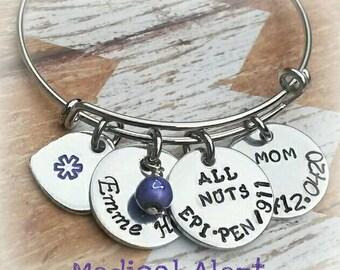 Medical Alert Bracelet - Purple Medical Alert Bangle - Medical ID - Medical Alert Jewelry - Diabetic - Allergy Bracelet - Pretty Bracelet