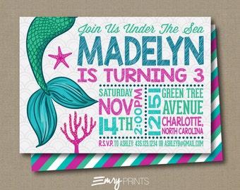 Mermaid Birthday Invitation / Under the Sea Invitation / Mermaid Invitation / Mermaid Under the Sea Invitation