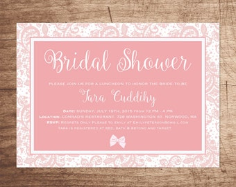Pretty in Pink Lacy Bridal Shower Invitation