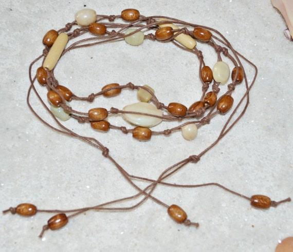 Belt Beaded Tan Knotted Cotton Cord,  Wood Beaded cord Belt, Hippie Belt, Boho Beaded Belt, Wood Bead Hippie Belt, Gypsy Style Belt