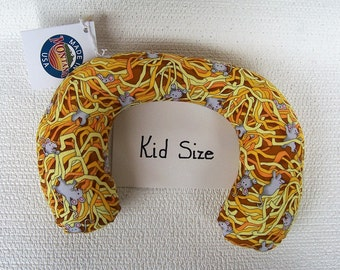 Kid Size Neck Roll with mice in the straw.