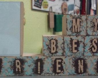 My Best Friend Wood Block display