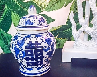 Miniature Blue and White Ginger Jar! Adorable Centerpiece Find!